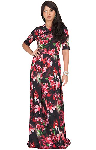 lowy Summer Short Sleeve Floral Flower Print Printed Casual Party Elegant Jersey Cute Sundress Gown Gowns Maxi Dress Dresses, Red and Black M 8-10 ()