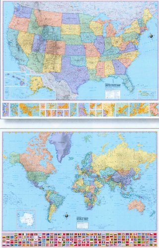 United States Map and World Map - 2 Wall Map Set