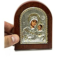 Catholic Miraculous Virgin Mary Sterling Silver Icon With Wood Frame 3.9 Jerusalem