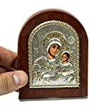 Catholic Miraculous Virgin Mary Sterling Silver Icon With Wood Frame 3.9'' Jerusalem