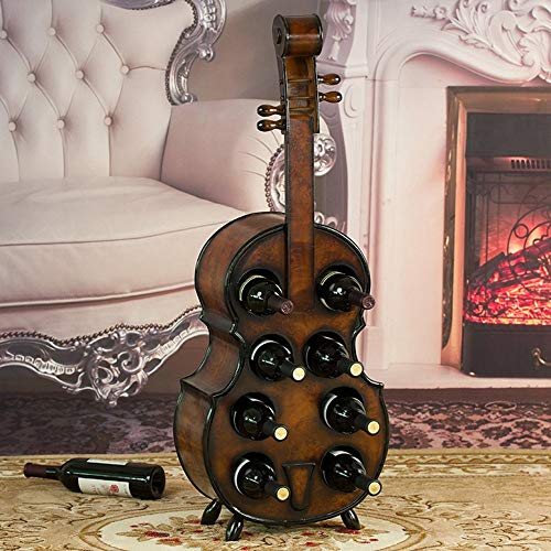 XIU Wine Racks Wine Shelf Wood Wooden Violin Bottle Holder Holds 8 Bottles