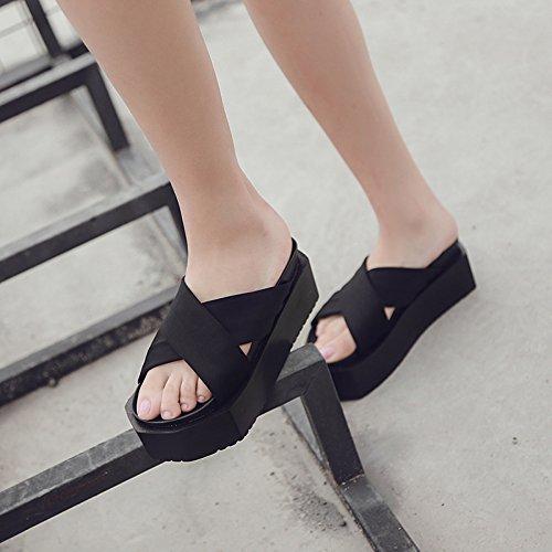 cruz 34 35 Negro AJUNR toe de elegante 8cm Sandalias espesor Moda Rocío Zapatillas bizcochos ocio simplicidad Transpirable HqCAZOwH