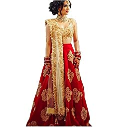 MotherCreation Women's Cotton & Silk Semi-stitched Lehenga Choli (Red R C_Red_Free)