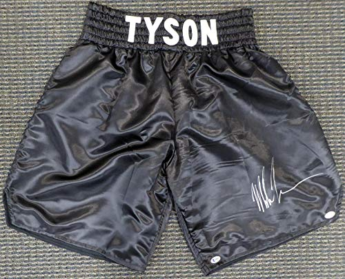 Mike Tyson Autographed Black Boxing Trunks Beckett BAS #H44629 - Beckett Authentication - Autographed Boxing Robes and Trunks Autographed Black Boxing Trunks