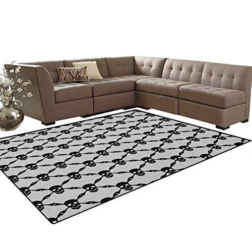 Gothic,Rug,Halloween Horror Theme Spooky Black Skulls Checkered Pattern with Skeleton Bones,Home Decor Floor Carpet,Black White Size:6'x7' for $<!--$124.10-->