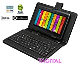 "Tagital 7"" Android 4.2 4GB Capacitive Touch Screen A23 Tablet Dual Core Dual Camera Bundle Keyboard Black"