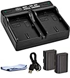 BM 2-Pack of LP-E6N Batteries and Dual USB Battery Charger for Canon EOS R, EOS 60D, EOS 70D, EOS 80D, EOS 5D III, EOS 5D IV, EOS 5Ds, EOS 6D, EOS 6D Mark II, EOS 7D, EOS 7D Mark II, XC10, XC15 Camera
