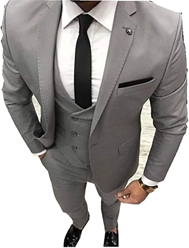 Grey Wedding Men Suit 3 Pieces Blazer Slim Fit Notched Lapel Causal Men S Suits Groom Tuxedo Jacket Pants Vest At Amazon Men S Clothing Store
