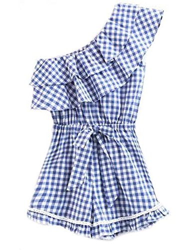 Goodnight Macaroon Sawyer' Blue Gingham Single Shoulder Layered Ruffle Romper - Medium (M) - Blue - Gingham Ruffle Pant