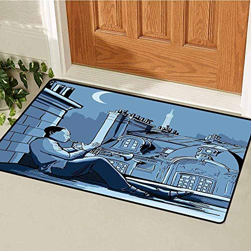 GloriaJohnson Music Front Door mat Carpet Trumpet Player on a Roof in Paris at Night Eiffel Moon Europe Illustration Print Machine Washable Door mat W29.5 x L39.4 Inch Black Dark Blue (Rock The Night The Very Best Of Europe)