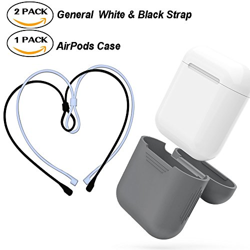 AirPods Strap & AirPods Case Air Pods Sports Silicone Strap Wire Rope Connector & Case Shock Proof Protective Cover for iPhone 7 Apple Airpods (General White+General Black strap & Gray Case) (Pods 56)