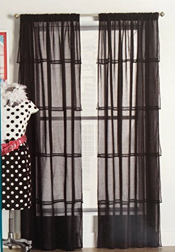 2 Ruffle Curtains sheer Curtains for Bedroom Curtains for Living Room -Ruffled Curtains for Kids Room Shabby Chic Curtain for Nursery Kids Curtains for Girls (black) -