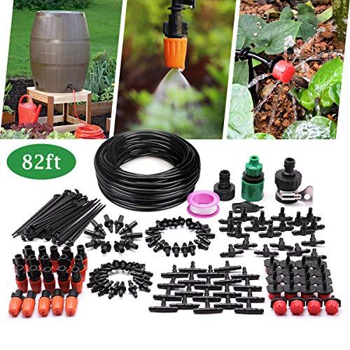 Pot Plant Drip Kit - CYEVA 82ft/25M Drip Irrigation Kit with 40Pcs Adjustable Emitters, 2 Different Sprinkler Types, Water-Saving DIY Sprinkler System for Vegetable Garden, Lawn, Pot Plants, Rain Barrel Kit