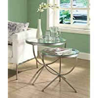 Monarch Round Satin Nesting Tables with Tempered Glass - 2 Piece Set