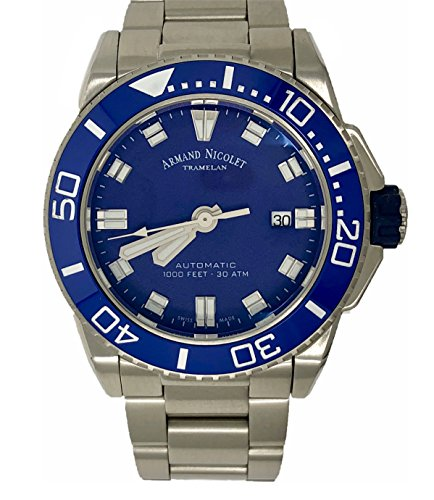 Armand Nicolet Men's Diver Automatic Watch with Stainless Steel Bracelet A480AGU-BU-MA4480AA