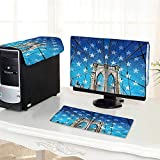 Auraisehome One Machine LCD Monitor Keyboard Cover NYC Bridge Photo with Stars Home to The Empire States Building Times Square dust Cover 3 Pieces /24'