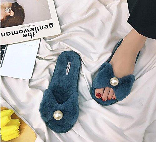 Langmotai Sandalen Neue Winter Sandalen Bug Pearl Hausschuhe  6.5|3.