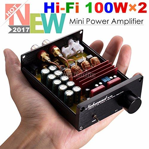 Nobsound Mini Dual TPA3116 Digital Power Amplifier HiFi Stereo Amp Audiophile-Grade 2.0 Channel 100W×2 with NE5532P Pre-Amp (Black) Mini Banana Jack