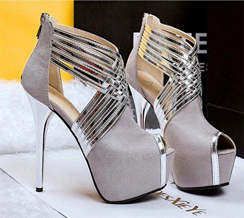 piattaforma EUR Sexy Attraversare cinghie 35 Festa XIE Scarpe scamosciato alto Tacco L UK Vestito Stiletto sandali 3 Donna Discoteca Nero Bzawx8