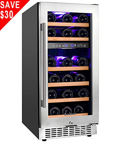 - 【Upgraded】Aobosi 15'' Wine Cooler Dual Zone 28 Bottle Freestanding and Built-in Wine Refrigerator with Stainless Steel Tempered Glass Door & Temp Memory Function, Blue LED Light, Fit Champagne Bottle