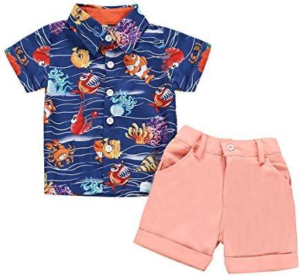 White Shorts Pants Kids Summer Clothes Set Toddler Boy Pineapple Outfits Gentleman Bowtie Button-Down Shirt Top