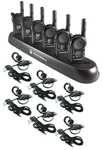 6 Pack of Motorola CLS1110 Walkie Talkie Radios with Headsets & 6-Bank Charger