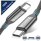 Akoada USB-C to USB-C 100W Cable 10ft,USB C Braided Fast Charging Cable Compatible with 2019/2018 MacBook,MacBook Pro,MacBook Air/iPad Pro 2018,HP Spectre,Pavilion,Pixelbookand Type-C Laptops (Grey)