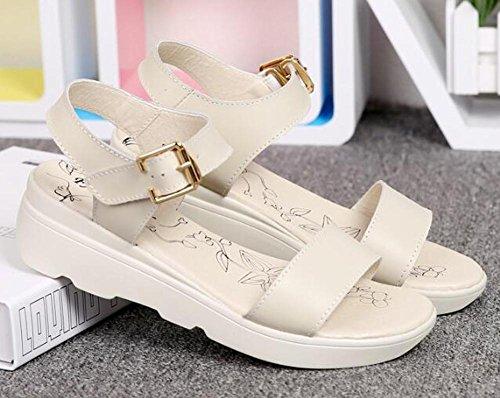 Bas En Cuir Femmes éPaisse Printemps En ÉTé Sandales Avec Finition 2017 Des Confortable et YC Plates white Chaussures AutomneL F8xxBzf