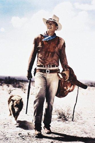 Hondo John Wayne iconic Poster carrying rifle & saddle walking with dog