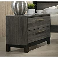 Roundhill Furniture Ioana 187 Antique Grey Finish Wood 2-Drawer Nightstand