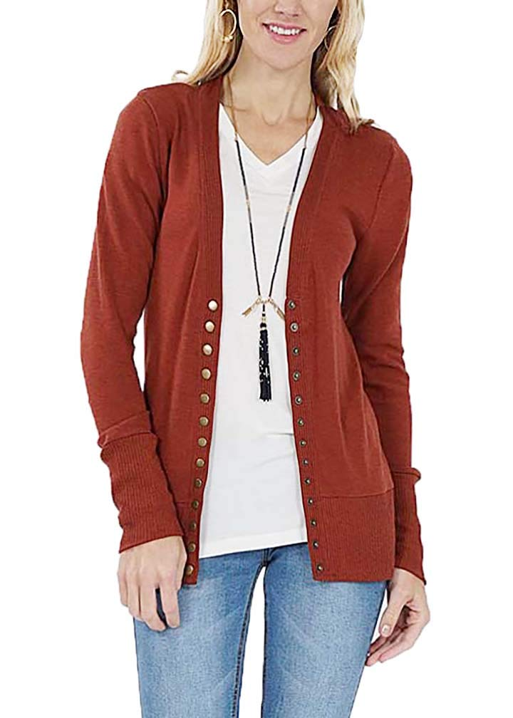 JNTOP Women's Snap Button Cardigan Sweater Rust Small