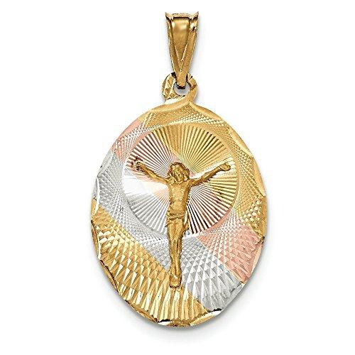 Poli 14 carats et Rhodium Diamant Coupe JewelryWeb Corpus pendentif ovale