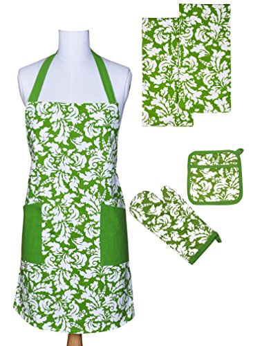 - Yourtablecloth Kitchen Gift Set-1 Kitchen Apron, an Oven Mitt & A Pot Holder-2 Kitchen Dish Towels or Tea Towels-Ideal Cooking Gifts or Gift Ideas for Chefs-Suitable for Men & Women-Apple Green