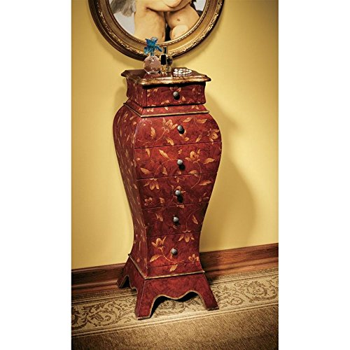 Hand Painted Six Drawer Chest - Design Toscano Villandry Wooden Bombe Decorative Storage Cabinet