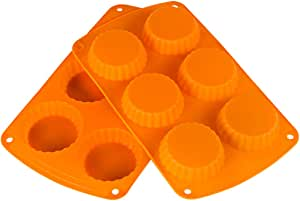Webake Silicone Pie Pan Tart Pan Mold Quiche Pan 6-Cavity Tartlet Pan 2-Pack (Tart Pan)