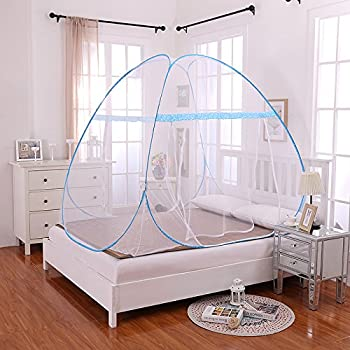 Bed Mosquito Net, Amever One Touch Free Installation Mosquito Netting for Bed Foldable Yurt Mosquito Tent Net Pop Up for Baby Adult (1.0x1.9x1.1m Blue)