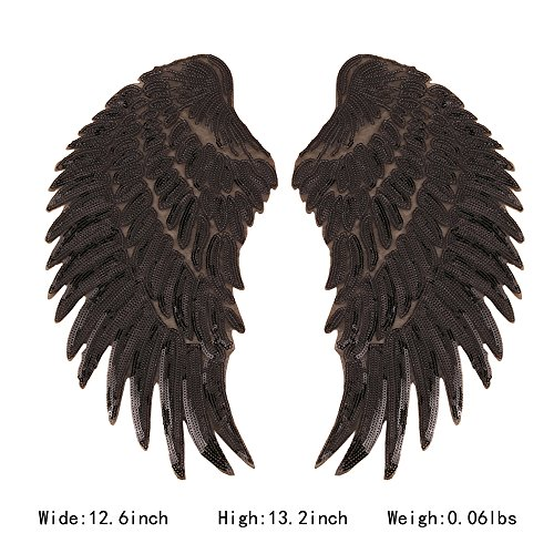 ARTEM 1 Pair Black Sequins Angel Wings Sew On Iron On Patch DIY Embroidered Applique Bling Wings for Jackets Cloth Decoration Accessory Stickers Gifts 4 (Black Sequin Rhinestone)