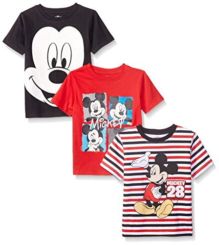 Disney Little Boys' Toddler 3 Pack Mickey T-Shirts, Black, 3T