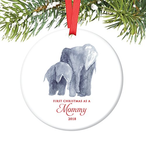 New Mommy Ornament 2018, First Christmas as a Mommy, Baby & Mama Elephant Porcelain Ornament, 3