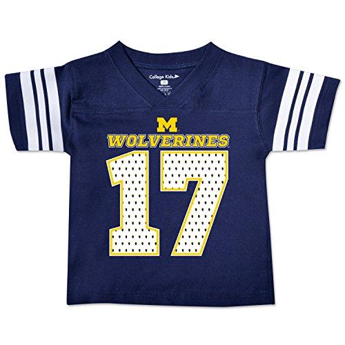 NCAA Michigan Wolverines Toddler Football Tee, 3 Toddler, Navy - Ncaa Michigan Wolverines Jersey