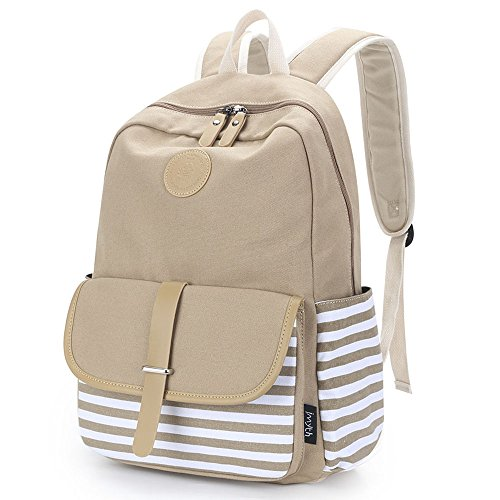 Upgraded Canvas School Backpack Casual Laptop Bag Lightweight Travel Backpack...