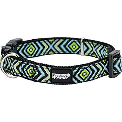 Friends Forever Dog Pattern Collar Double Layer Woven Square Green Small 11-16""