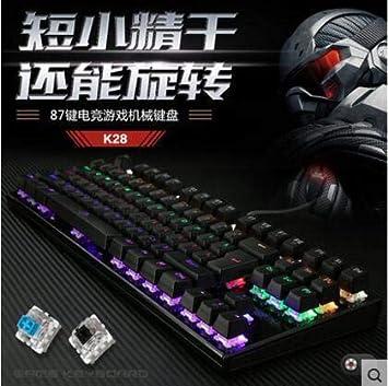 Teclado mecánico k28 teclado mecánico 87 teclas verde eje de ...