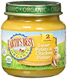 Earth's Best Organic Stage 2, Sweet Potato & Chicken Dinner, 4 Ounce Jar (Pack of 12)