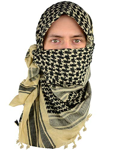 Mato & Hash Military Shemagh Tactical 100% Cotton Scarf Head Wrap - Tan/Black CA2100-2