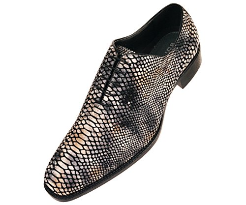Bolano Mens Exotic Faux Snake Skin Print Oxford Dress Shoe: Style Seabrook Grey
