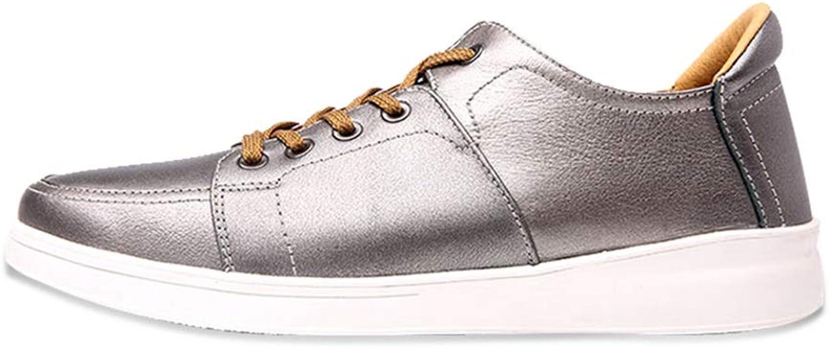 SHENYUAN-estuche de moda Zapatillas de deporte for correr ocasionales for hombres Cuero genuino Ligero Británico Ocio Zapatos de tabla plana al aire libre antideslizante Punta redonda con cordones Zap: Amazon.es: Zapatos y