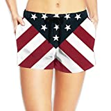 JIW Iaa American Flag Womens Popular Elastic Waist Shorts Breathable Lightweight Beach Shorts