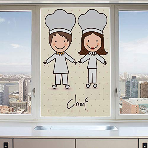 3D Decorative Privacy Window Films,Chef Hat and Uniform Kitchware Vintage Style Design Home and Cafe Polkadots Kids,No-Glue Self Static Cling Glass film for Home Bedroom Bathroom Kitchen Office 17.5x3