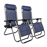 Cheap Matladin Zero Gravity Chairs with Cup Holder Set of 2, Folding Lounge Chair Outdoor for Pool, Lawn, Beach, Reclining Patio Chairs (Blue)